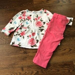 👧12 mo Carter's Rose LS Blouse with pants